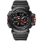 KOODEA 8043 Military Watch for Men 50M Waterproof Clocks Luminous Hands Digital Wristwatches Black Gold Rubber Bracelet Sport Watches (8043 Black)