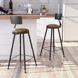 Williston Forge 2 PSC Bar Stools Upholstered Seat Wood in Black/Brown, Size 39.7 H x 17.7 W x 17.7 D in | Wayfair B9B0824AE9734AAF8218A846C193053A