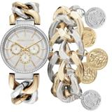 Two-tone Stainless Steel Metal Strap Chunky Chain Mock-chronograph Analog Watch And Coin Bracelet Set 40 Mm - Metallic - Kendall + Kylie Watches