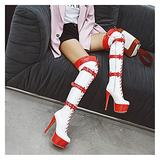 Ladies Over The Knee Boots, High Boots, Ladies Thigh High Stretch Pole Dance Boots, 14CM Stiletto Heel Over The Knee Boots with Belt Buckle,White,EU36