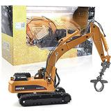 IIIL Construction Vehicle Toys Grab Excavator 1:50 Alloy Grab Wooden Vehicle Engineering Alloy Models Toys Gift for Kids and Decoration House