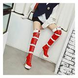 Ladies Over The Knee Boots, High Boots, Ladies Thigh High Stretch Pole Dance Boots, 14CM Stiletto Heel Over The Knee Boots with Belt Buckle,Red,EU35