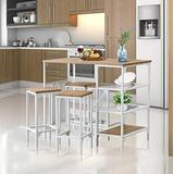 HOOSENG Dining Table Set for 4-5pcs Counter Height Dining Table with Bar Stools & 3 Open Storage Shelves, Sturdy Metal Frame, Height 35.8'', Oak