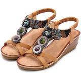 Women's Elastic Slingback Wedge Sandal Comfortable Fashion Platform Ankle Straps Non-Slip Slingback Sandals