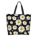 BLUBLU Women Large Shoulder Handbag, Casual Canvas Tote Bag, Reusable Multipurpose for Outdoor Heavy Duty Shopping Grocery Daisy