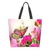 BLUBLU Women Large Shoulder Handbag, Casual Canvas Tote Bag, Reusable Multipurpose for Outdoor Heavy Duty Shopping Grocery Butterfly Rose Floral