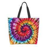 BLUBLU Women Large Shoulder Handbag, Casual Canvas Tote Bag, Reusable Multipurpose for Outdoor Heavy Duty Shopping Grocery Tie Dye Colorful Rainbow