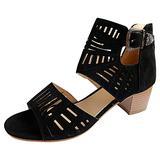 ZiSUGP Open Toe Glitter Studded Flat Sandals Espadrille Wedge Sandal Platform Sandals Heels For Women Brown High Heels(Black,Size7)