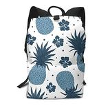 Vintage Navy Blue Pineapple Youth School Backpacks Llightweight And Durable Laptop For Men And Women Travel Bag