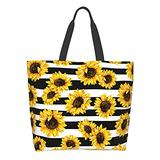 BLUBLU Women Large Shoulder Handbag, Casual Canvas Tote Bag, Reusable Multipurpose for Outdoor Heavy Duty Shopping Grocery Sunflower