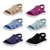 coersd Women Sandals Plus Size Women's Flat Slippers Comfy Slippers Summer Ladies Sandals Breathable Elastic Webbing Platform Casual Sandals Summer Casual Beach Sandals