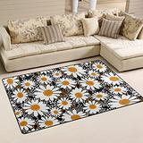 UMIRIKO White Daisy Flower Flowers Laundry Collection Area Rug Non-Slip Floor Rug Doormat for Bathroom Bedroom Decor 60 x 39 in 20231618