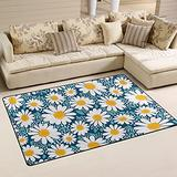 UMIRIKO White Daisy Flower Flowers Laundry Collection Area Rug Non-Slip Floor Rug Doormat for Bathroom Bedroom Decor 60 x 39 in 20231624