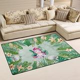 UMIRIKO Cute Unicorn Palm Leaf Flowers Tropical Summer Laundry Collection Area Rug Non-Slip Floor Rug Doormat for Bathroom Bedroom Decor 60 x 39 in 20232056