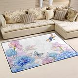 UMIRIKO Butterfly Flowers Spring Summer Laundry Collection Area Rug Non-Slip Floor Rug Doormat for Bathroom Bedroom Decor 60 x 39 in 20231903