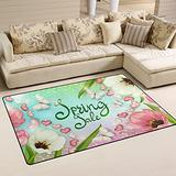 UMIRIKO Pink White Flowers Spring Summer Laundry Collection Area Rug Non-Slip Floor Rug Doormat for Bathroom Bedroom Decor 60 x 39 in 20231849