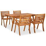vidaXL Solid Acacia Wood Garden Dining Set 5 Pieces Outdoor Patio Balcony Backyard Terrace Dinner Dinette Table Chair Home Furniture Wooden