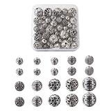 Cheriswelry 50pcs Tibetan Style Hollow Zinc Alloy Beads 8-14.5mm Texture Round Beads Antique Silver Spacer Beads Small Rondelle Ball Tibetan Loose Beads for Jewelry Bracelet Necklace Jewelry Making