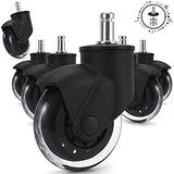 Office Furniture Casters 3 Inch Office Chair Caster Wheels, Newly Lightweigh Casters Wheels Fit almost all Computer Chair, Set of 5, Environmentally PU material Perfect for All Floors, Carpet,Hardwood
