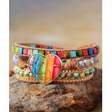 MICALLA Jewelry Women's Bracelets Multi - Agate & Jasper Multicolor Chakra Beaded Leather Wrap Bracelet