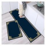 2 Piece Kitchen Rugs Mats Set Non-slip, Anti Fatigue Cushioned Mat Runner Rugs Waterproof Oil Resistant Floor Mats for Kitchen, bathroom, Laundry, Home, Office, Doormat,H-40x60+40x120cm