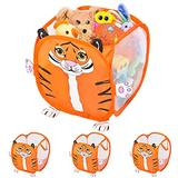 Smart Design Kids Pop Up Organizer w/ Animal Print - VentilAir Mesh Netting - for Toddlers, Baby Clothes, Plushies, & Toys - Home Organization - Cube - (10.5 x 11 Inch) [Orange Tiger] - Set of 4