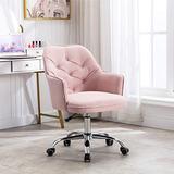 SSLine Elegant Swivel Vanity Chair Upholstered Makeup Stool for Teen-Girls Adult Women Stylish Rolling Desk Chairs w/Padded Seat for Dressing Room Living Room Bedroom (Pink)