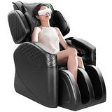 Massage Chair with Eye Massager, Full Body Massage Shiatsu Recliner with Zero Gravity, Heating, Airbag Compression, and Foot Roller Massage for Home, Office (Black, N500 pro & EM)
