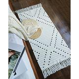 Boho Kitchen Rug Runner 2'x4.3' Small Bathroom Rugs with Tassels,White Moroccan Farmhouse Cotton Woven Chic Cute Washable Throw Runner Rug for Hallway Sink Bedroom Living Room Indoor Outdoor Decor