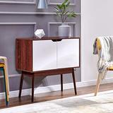 nozama Side Cabinet Storage with 2 Door Modern Buffet Server Sideboard Wooden Standing Cabinet Sideboard for Living Room (Dark Brown)