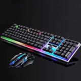 TIMAW USB Wired Gamer Keyboards Mouse Set LED Rainbow Color Backlight Gaming Keyboard Computer Mouse Keyboards Mechanical Keyboard (Color : 1 set1)