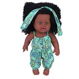Jinyank Black Baby Doll, Soft Vinyl Baby Doll with Jumpsuit Silicone Realistic Full Body Baby Play Doll Newborn Sleeping Bath Toy Best Gift for Toddlers and Girls