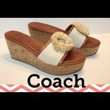 Coach Shoes   New! Coach Jazmin Canvas & Cork Natural Wedge   Color: Cream   Size: 8.5