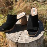 Zara Shoes | Black Suede Chunky Heel, Square Toe Cork Mules,10 | Color: Black/Tan | Size: 10-10.5