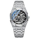 Mens Automatic Watch Skeleton Watches for Men Stainless Steel Strap Self Winder Mechanical Wrist Watches (White Strap - Black Dial)