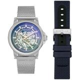 Automatic Two Tone Blue Stainless Steel Mesh And Genuine Leather Strap Watch Set 44mm - Blue - Kenneth Cole Watches
