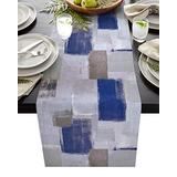"""Eclectichome Modern Farmhouse Table Runner - Navy Blue and Brown Abstract Art Table Runners for Dining Room,Living Room, Coffee Table, Holiday and Party Table Decor 16""""x72"""""""