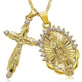 SOCBEOSTORE20-Gold Color Jesus Suffer Calamities Cross Necklace For Women Men Charm Chain Necklace Crucifix Christian Ornament Gifts (5)