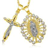 SOCBEOSTORE20-Gold Color Jesus Suffer Calamities Cross Necklace For Women Men Charm Chain Necklace Crucifix Christian Ornament Gifts (2)