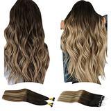 YoungSee Balayage I Tip Keratin Hair Extensions Human Hair and Micro Ring Hair Extensions Human Hair 20inch Pre Bonded Hair Extensions Fusion Hair Extensions 1g/s 50gram
