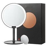 Makeup Mirror Vanity Mirror Vanity Mirror, Dressing Table Makeup Mirror with 5x, 6.6in, 60° Swivel Magnifying Mirror, Bathroom Mirror with Crystal-like Style Cosmetic Mirror (Color : White)