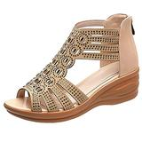 YUND Rhinestone Fish Mouth Sandals Female Mid-heel Hollow Slope With Female Sandals Fashion Sexy Sandals Women For Outdoor Summer Casual Sport Comfortable Elastic Platform Flat Sandals