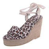 Women's Lace up Open Toe Snake Print Gladiator Platform Sandals Wedge Peep Toe Zipper Sandals Bohemia High Heel for Women Dressy