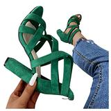 Qisemi Square Heel Sandals for Women Dressy Cross Strap Casual Flat Sandals Shoes Summer Beach Travel Zipper Roman Shoes