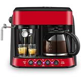 Steam Coffee Maker, Coffee Machine with Anti Drip Semi Automatic Espresso Maker for Commercial Office Large Built in 1.25 L Water Tank Easy to Clean Color Red