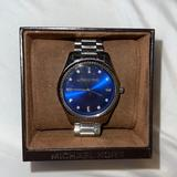 Michael Kors Accessories | Blue Face Womens Michael Kors Watch | Color: Blue/Silver | Size: Adjustable With Links Included