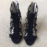Jessica Simpson Shoes | Jessica Simpson Black Lace-Up Wedge Sandal. Size 5 | Color: Black | Size: 5