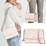 Tory Burch Bags   Tory Burch Robinson Pink Leather Shoulder Bag   Color: Gold/Pink   Size: 6h X 9w X 2.5d.