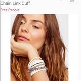 Free People Jewelry | Free People Chain Link And Leather Cuff Bracelet | Color: Silver/White | Size: Os