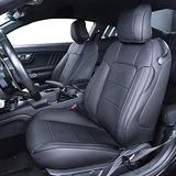 TTX Lighting Custom Made PU Leather Seat Cover Full Set for 2015-2019 Dodge Challenger SXT RT(Black,1st & 2nd Rows)